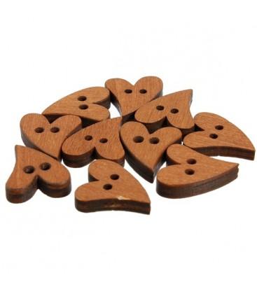 100 Botones de madera con forma de corazon