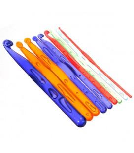 Set de 9 agujas acrílicas para trapillo, ganchillo o crochet