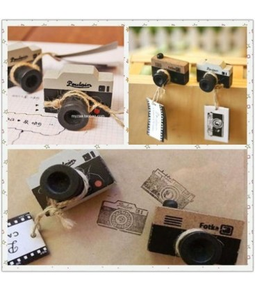 2 sellos con forma de cámara de fotos