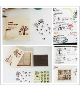 15 sellos de madera kawaii