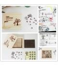 Set de 15 sellos de madera y caucho - Kawaii