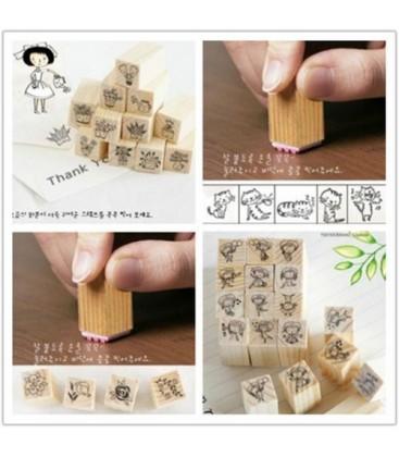 Lote Kawaii de 12 sellos de madera para Scrapbooking - Manualidades
