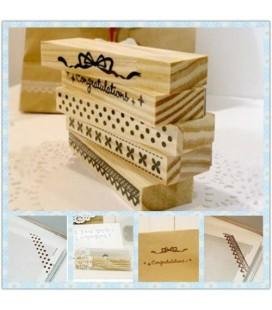 Lote de 5 sellos de madera para scrapbook