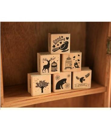 Pack de 6 sellos de madera y caucho - Motivos Rurales