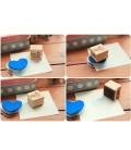 Conjunto de 6 sellos de madera - Kawaii - Scrapbook