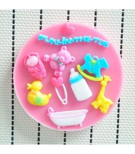 Molde de silicona - Motivos infantiles 1 - Fondant - Fimo - Sugarcraft - Jabones
