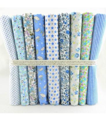 Lote azul - 9 telas para patchwork, Costura, Manualidades - Retales - Cuadrantes