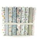 Lote floral - 9 telas para patchwork y costura - Retales - Cuadrantes