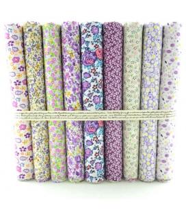 Lote Violeta - 9 telas para patchwork y costura - Retales de algodón
