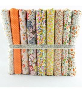 Lote Naranja - 9 telas para patchwork y costura - Retales de algodón