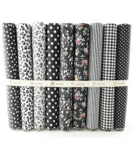 Lote Negro - 9 telas para patchwork y costura - Retales de algodón