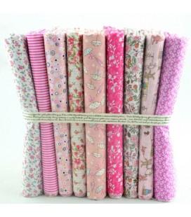 Lote Rosa - 9 telas para patchwork y costura - Retales de algodón