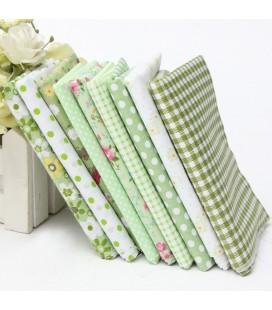 Lote de 9 telas - Serie Verde - Patchwork - Manualidades - Costura