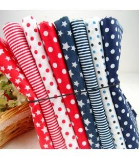 8 telas de algodón para Patchwork - Serie Roja y Azul