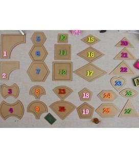 Lote de 27 plantillas para telas patchwork - Quilting - Herramientas