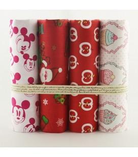 Lote de 4 telas de algodón - Rojas - Coordinadas - Patchwork - Costura - Fat Quarters