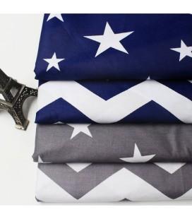 Lote de 4 telas de algodón - Estrellas - Coordinadas - Patchwork - Costura - Fat Quarters
