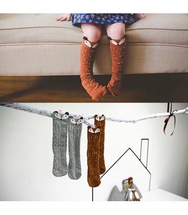 Calcetines altos con motivo de zorrito para niños de 1 a 6 años