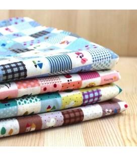 Lote de 4 telas de algodón - Coordinadas - Patchwork - Costura - Fat Quarters