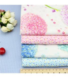 Lote de 4 telas de algodón -Dientes de Leon - Patchwork