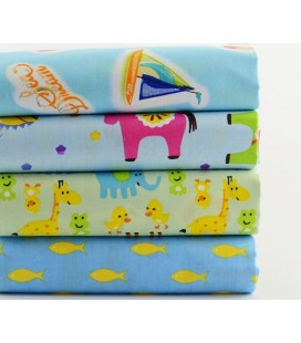 Lote de 4 telas de algodón - Infantiles - Patchwork - Costura - Fat Quarters