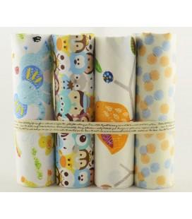 Lote de 4 telas de algodón - Infantiles Set 2 - Patchwork - Costura - Fat Quarters