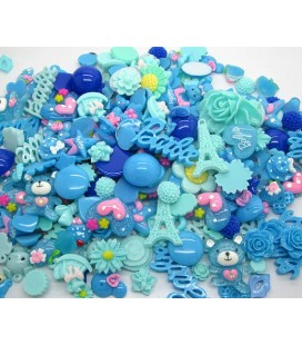 Lote de 100 cabujones de color azul - Kawaii - Scrapbooking - 10-36mm