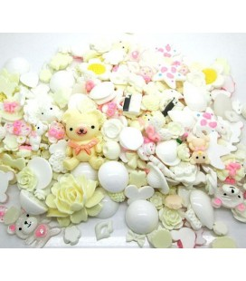 Lote de 100 cabujones de color beige y blanco - Kawaii - Scrapbooking - 10-36mm