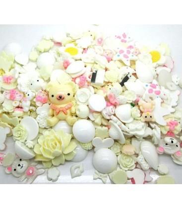 Lote de 100 cabujones de color blanco - Kawaii - Scrapbooking - 10-36mm