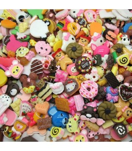 Lote de 100 cabujones de temática food - Kawaii - Scrapbooking - 10-36mm