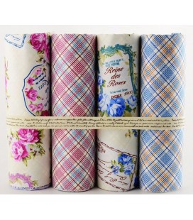 Lote de 4 telas de algodón - Floral Cuadros - Patchwork - Costura - Fat Quarters