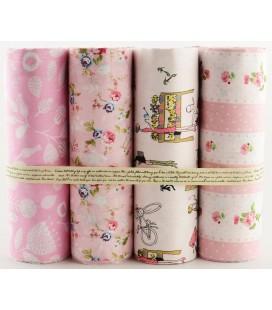 Lote de 4 telas de algodón - Romántico - Rosa - Patchwork - Costura - Fat Quarters
