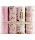 Lote de 4 telas de algodón - Románticas - Rosas - Patchwork - Costura - Fat Quarters