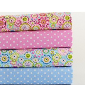 Lote de 4 telas de algodón - Flores y Lunares - Patchwork - Costura - Fat Quarters