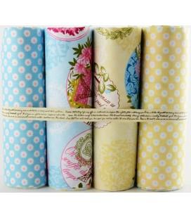 Lote de 4 telas de algodón - Romántico - Azul y Amarillo- Patchwork - Costura - Fat Quarters