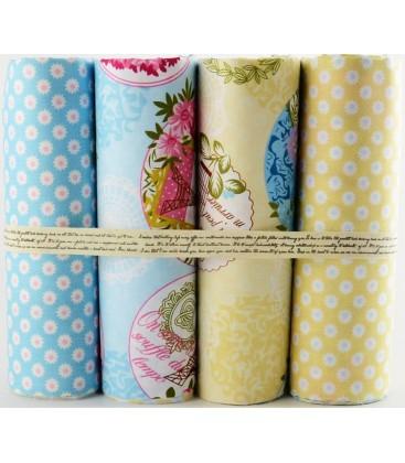 Lote de 4 telas de algodón - Romántico - Azul y Amarillo - Patchwork - Costura - Fat Quarters