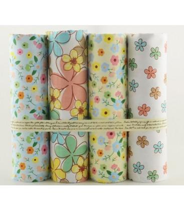 Lote de 4 telas de algodón - Flores - Patchwork - Costura - Fat Quarters