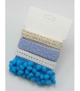 Lote de cintas azules - Puntilla - Encaje - Pompom - Manualidades - Costura - Patchwork