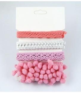 Lote de cintas rosas - Puntilla - Encaje - Pompom - Manualidades - Costura - Patchwork