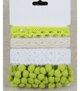 Lote de cintas verdes - Puntilla - Encaje - Pompom - Manualidades - Costura - Patchwork