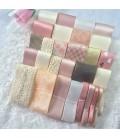 Lote de cintas rosa oscuro - Puntilla - Encaje - Pompom - Manualidades - Costura - Patchwork