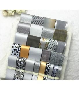 Lote de cintas Gris - Plata - Saten - Organza - Manualidades - Costura - Patchwork