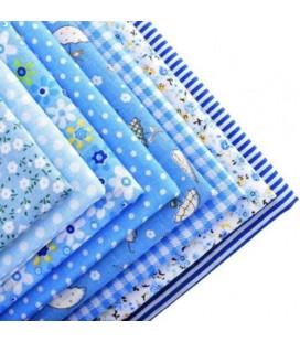 Set de 7 telas para manualidades  y patchwork - Retales - Fat quarters - Azul 1