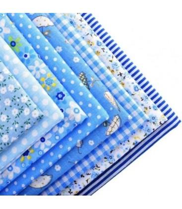 Lote de 7 telas para patchwork - Azul claro