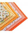 Lote de 7 fat quarters - Telas - Manualidades  y Patchwork - Cuadrantes - Naranjas