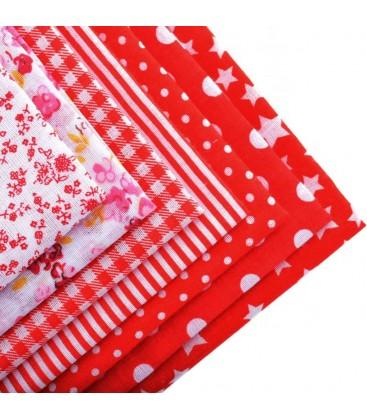 Lote Rojo de 7 fat quarters - Telas - Manualidades  y Patchwork - Cuadrantes - Serie 1