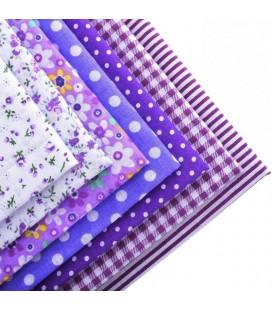 Lote Violeta de 7 fat quarters - Telas - Manualidades  y Patchwork - Cuadrantes