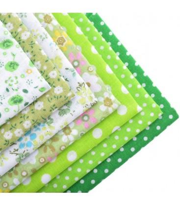 Lote Verde de 7 fat quarters - Telas - Manualidades  y Patchwork - Cuadrantes - Serie 1