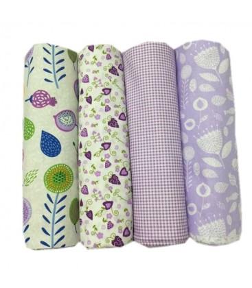 Lote de 4 telas de algodón - Floral Morado - Patchwork - Costura - Fat Quarters