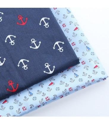 Lote de telas marineras anclas - Telas - Manualidades  y Costura